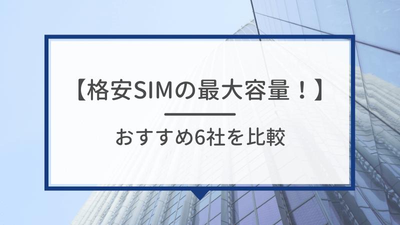 【格安SIMの最大容量!】おすすめ6社を比較