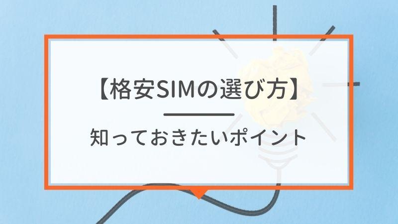 au回線系の格安SIMの選び方