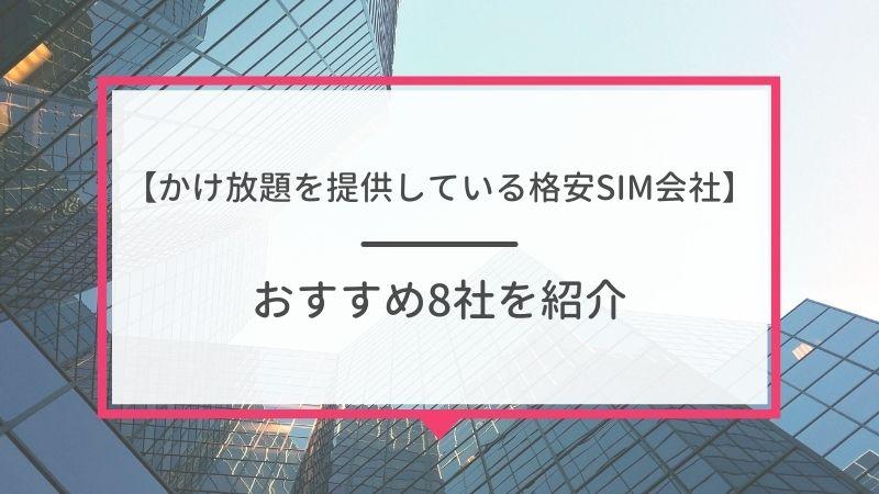 格安SIM8社のかけ放題プラン・オプション