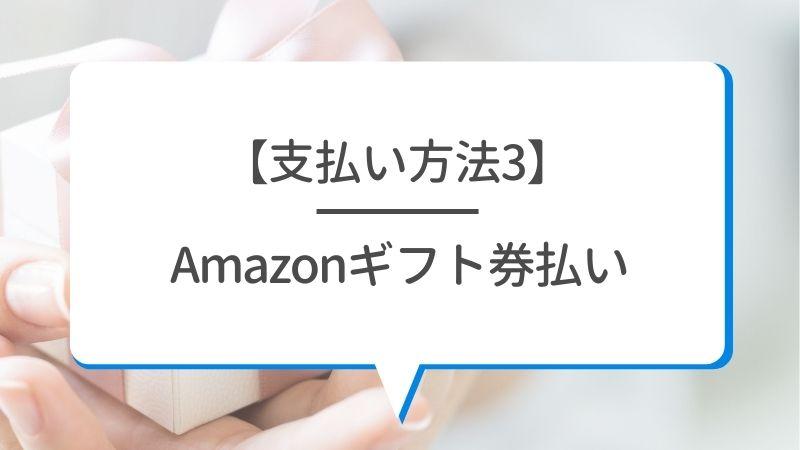 【支払い方法3】Amazonギフト券支払い