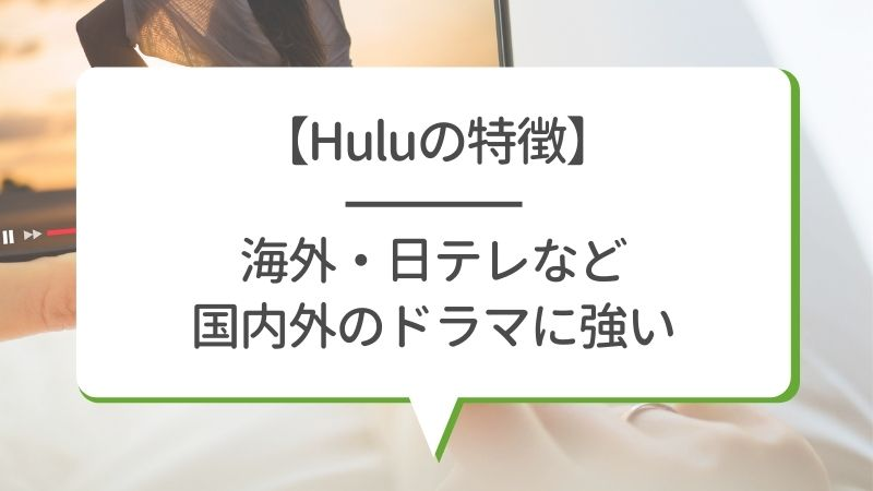 【Huluの特徴】海外・日テレなど 国内外のドラマに強い