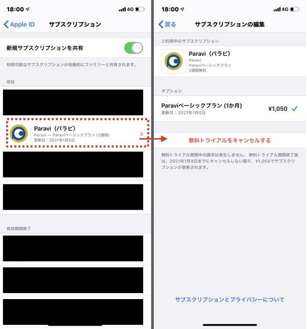 iPhoneでAppleIDで登録した場合の解約方法2