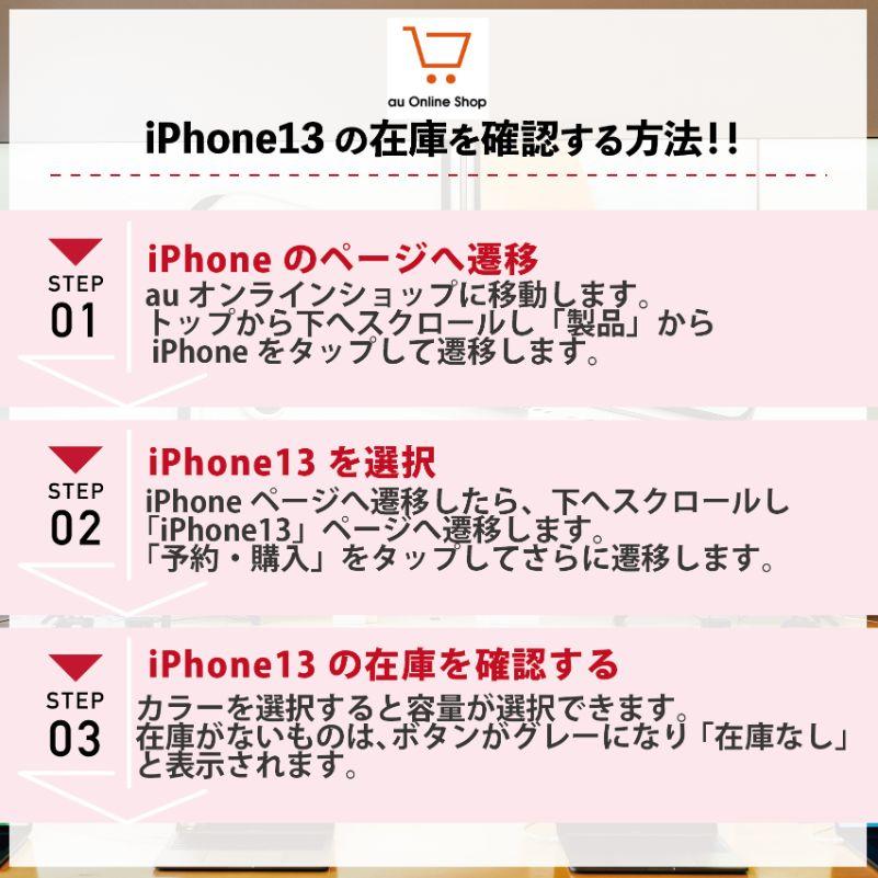 auでiPhone13の在庫・入荷状況を確認する手順