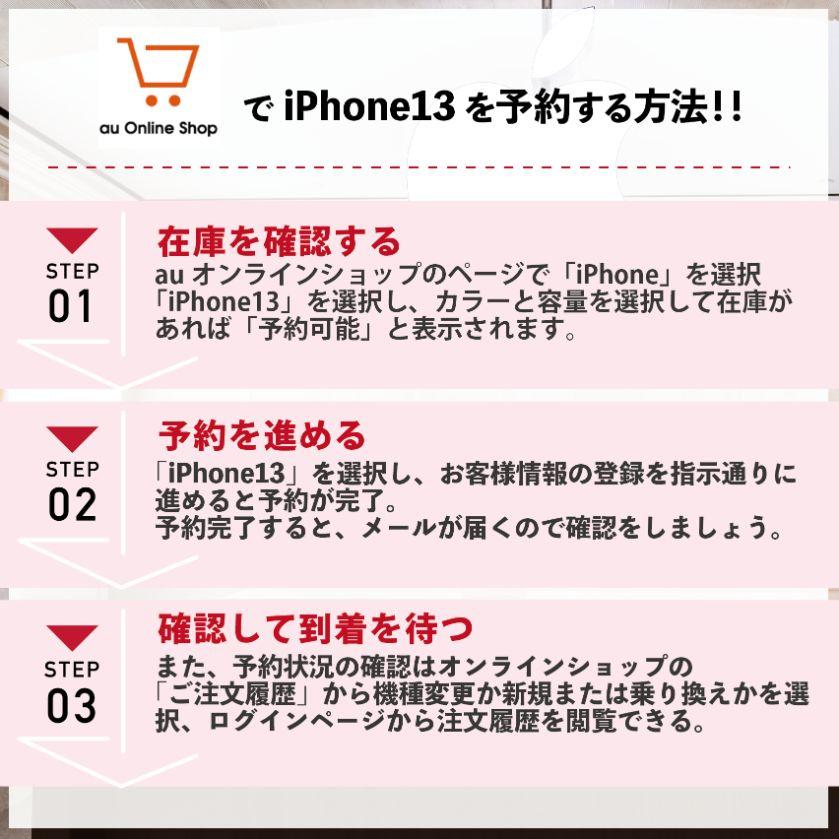 【図解・画像で解説】iPhone13をauで予約する手順
