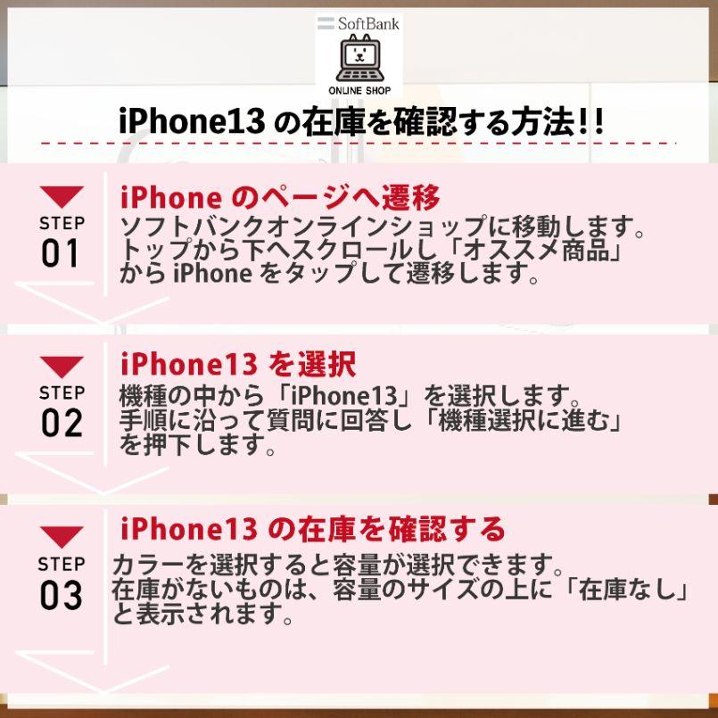 ソフトバンクでiPhone13の在庫・入荷状況を確認する手順