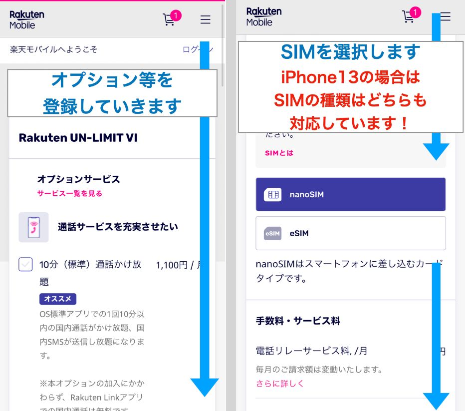 手順2.オプション・SIMを選択する