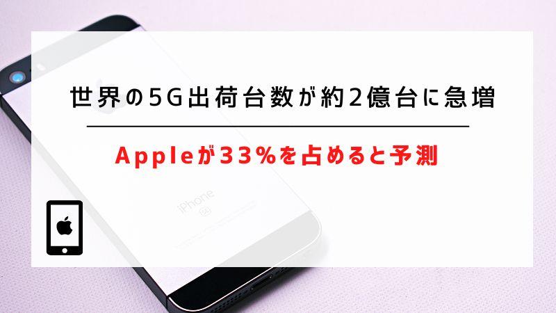 世界の5G出荷台数が約2億台に急増|Appleが33%を占めると予測
