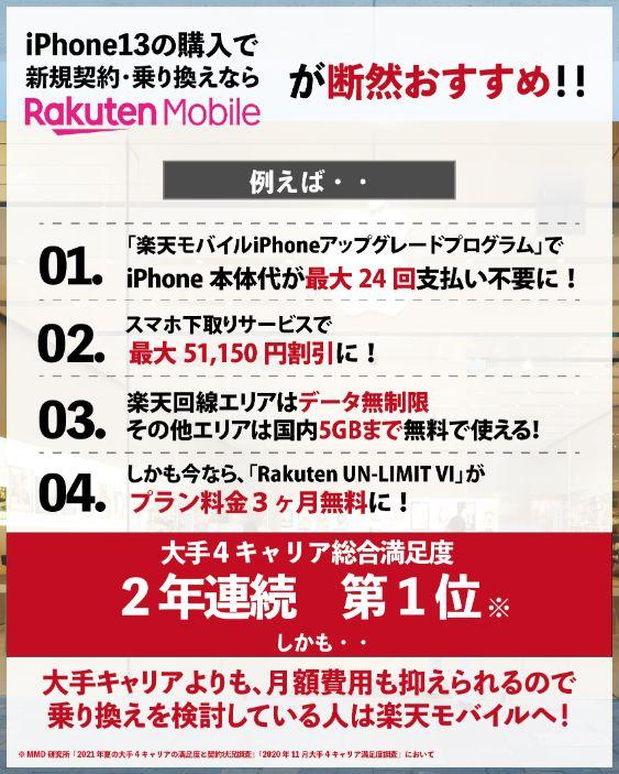 iPhone13の購入で新規契約・乗り換えなら、楽天モバイルがおすすめな4つの理由